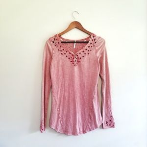 Free People Henley Red Stonewashed Eyelet Top 242